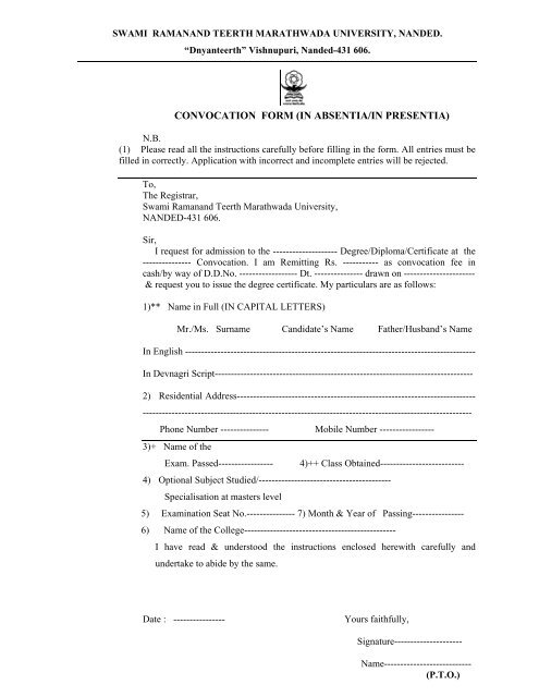 Convocation Form In Absentia In Presentia The Swami