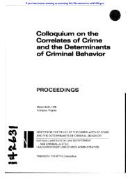 Colloquium on the Correlates of Crime and the Determinants of ...