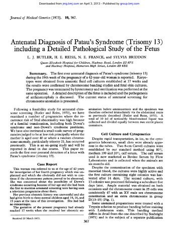 patau syndrome essay Patau syndrome aijaz nanjiani  search for more papers by this author , nahla mahgoub search for more papers by this author  overlap of patau and pierre robin .