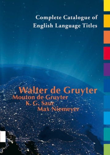 Complete Catalogue of - Walter de Gruyter