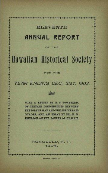 Hawaiian Historical Society - eVols