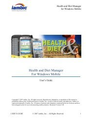 Health and Diet Manager For Windows Mobile - Iambic
