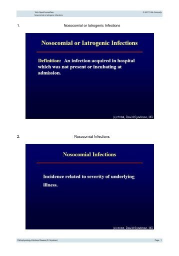 Nosocomial or Iatrogenic Infections - Tufts OpenCourseWare - Tufts ...