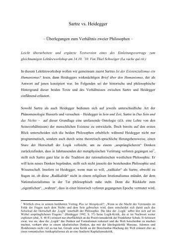 Sartre versus Heidegger