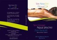 Spa Aqua Zen : tarifs