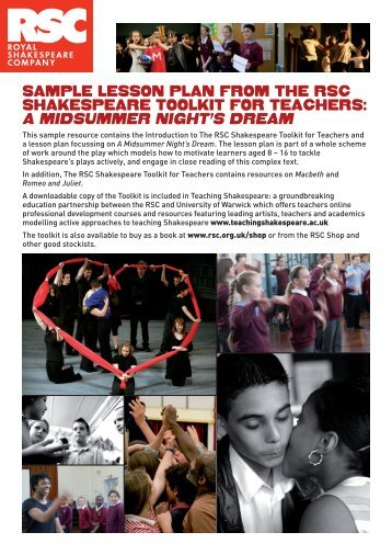 Sample leSSon plan from The rSC ShakeSpeare ToolkiT - Teaching ...