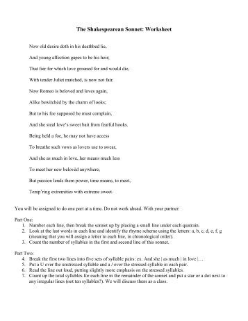 Worksheet Sonnet Worksheet what is a sonnet the shakespearean worksheet
