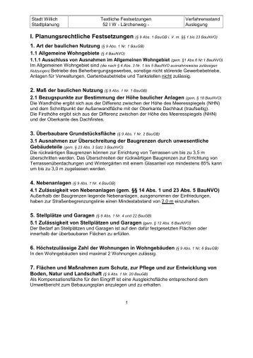 Textliche Festsetzungen - Stadt Willich