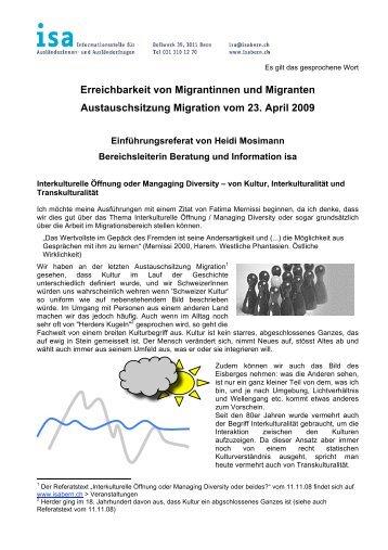 Erreichbarkeit von Migrantinnen und Migranten Austauschsitzung ...