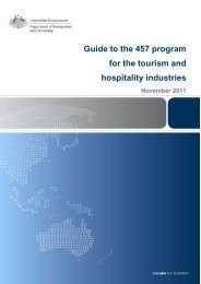 Guide to the 457 program for the tourism and hospitality industries
