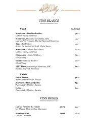 carte des vins - Hotel Montreux