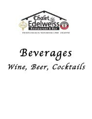 Beverages - Chalet Edelweiss