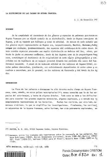La distribucion de las palmas en Guyana Francesa - IRD
