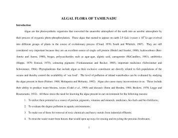 algal database - ENVIS Centre: Tamil Nadu