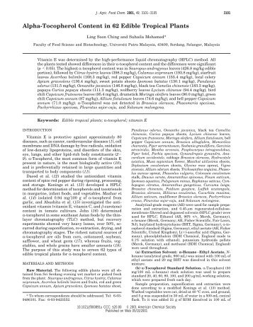 Alpha-Tocopherol Content in 62 Edible Tropical Plants - Campbell