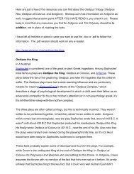 Oedipus Trilogy Resources : Primarily Rex and Colonus