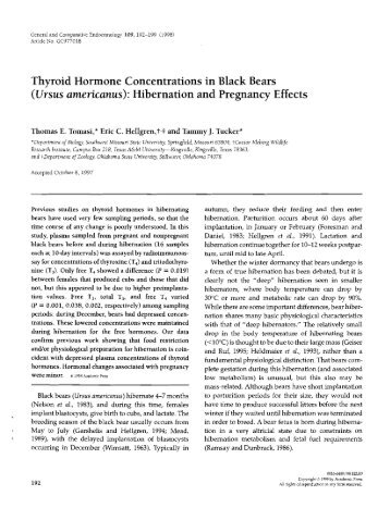 Thyroid Hormone Concentrations in Black Bears ... - Dr. Tammy Tucker