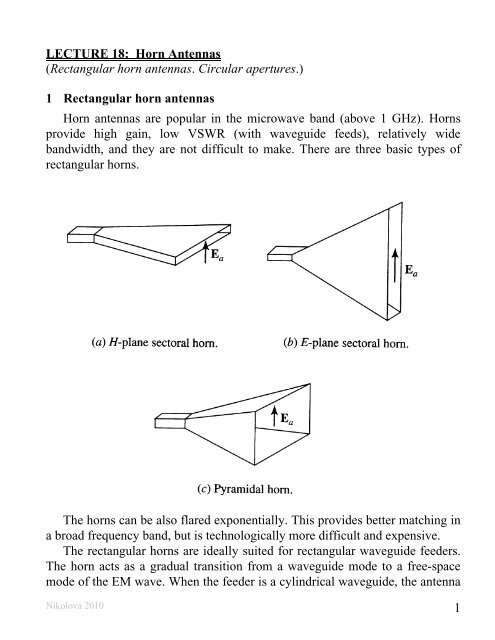 1 Lecture 18 Horn Antennas