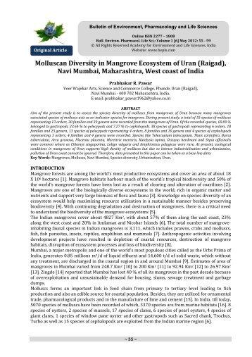Molluscan Diversity in Mangrove Ecosystem of Uran - Bulletin of ...