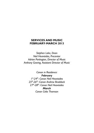 Service music list - Gloucester Cathedral
