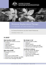 Hormone Replacement Therapy: - National Health and Medical ...