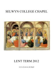 Chapel Card - Lent Term 2012 final as sent - Selwyn College