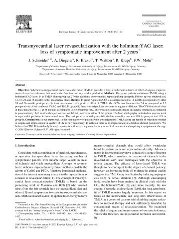 Transmyocardial laser revascularization with the holmium:YAG laser ...