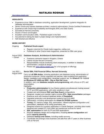 My Resume - Natalka Roshak