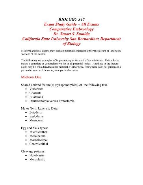 BIOLOGY 340 Exam Study Guide – All Exams     - Dr  Stuart Sumida