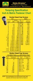 Torquing Specification Inch & Metric Fastener Chart - Holo-Krome