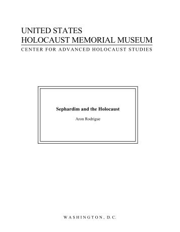Sephardim and the Holocaust - United States Holocaust Memorial ...