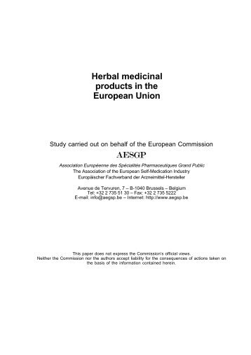 Herbal medicinal products in the European Union - AESGP