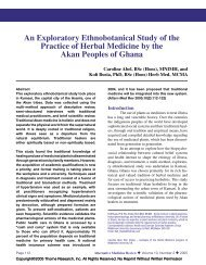 An Exploratory Ethnobotanical Study of the Practice of Herbal ...