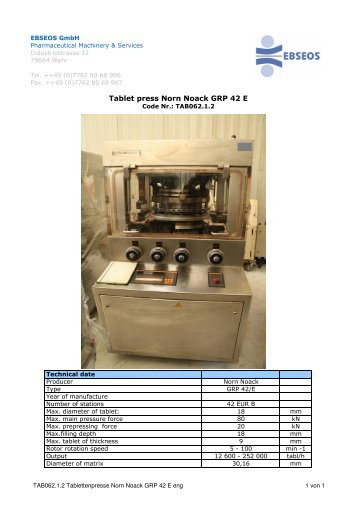 TAB062.1.2 Tablettenpresse Norn Noack GRP 42 E ... - Ebseos GmbH