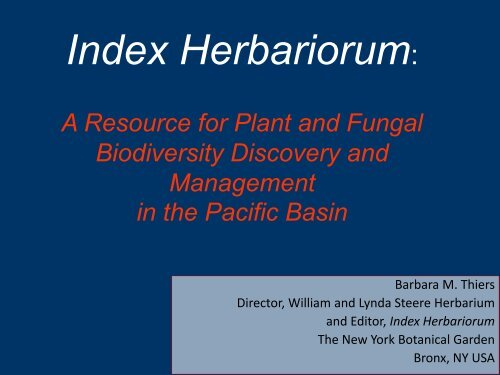 index herbariorum, a directory to the world's herbaria - Barcode of Life