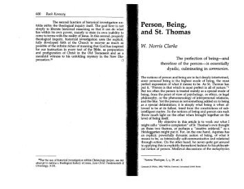 W. Norris Clarke. Person, Being, and St. Thomas. Communio 19 ...