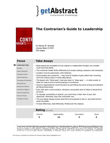A Contrarian's Guide to Leadership - Forbo Management Training