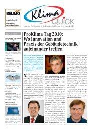 ProKlima Tag 2010: Wo innovation und Praxis der ... - Robe Verlag AG