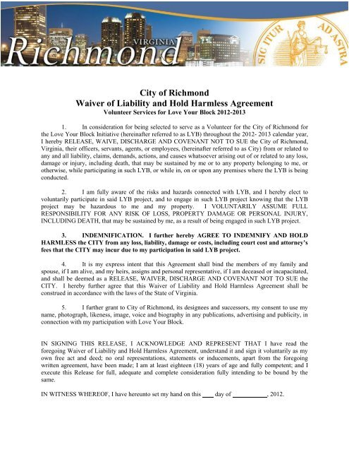 Waiver of Liability and Hold Harmless Agreement - City of Richmond