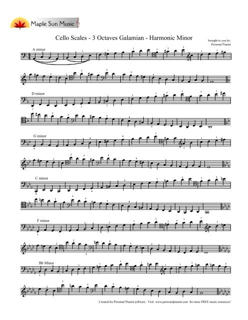 Cello Scales 3 Octaves Galamian Harmonic Minor