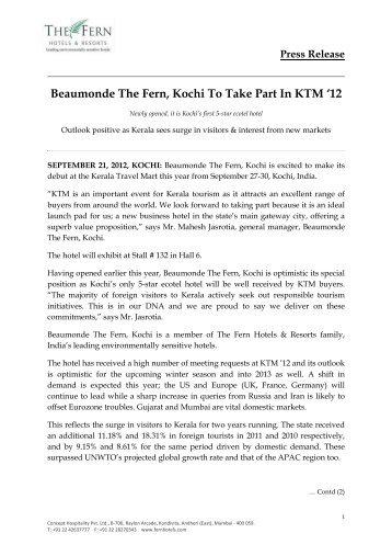 Download: Press Release in .PDF - Fern Hotels