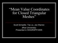Mean Value Coordinates for Closed Triangular Meshes - Computer ...