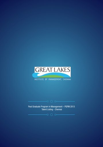 PGPM Talent Listing - Great Lakes Institute of Management