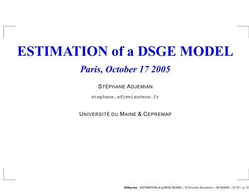 ESTIMATION of a DSGE MODEL - Dynare