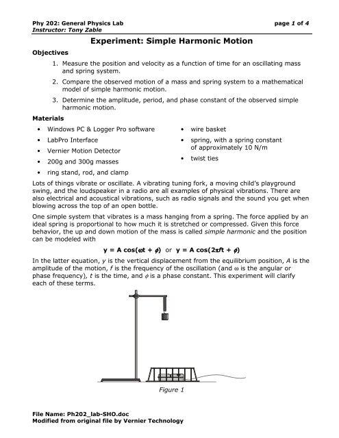 Experiment: Simple Harmonic Motion - PCC