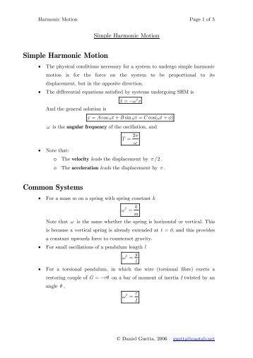 Simple Harmonic Motion Worksheet 1 Answers - Worksheets