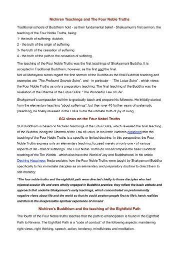 Nichiren Teachings and The Four Noble Truths ... - Soka Humanism