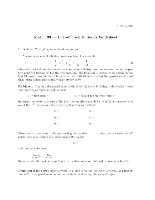 math   introduction to series worksheet