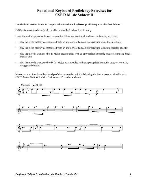 Functional Keyboard Proficiency Exercises for CSET: Music