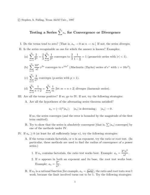 Testing a Series an for Convergence or Divergence